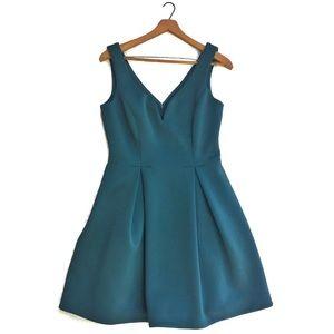 {Slate & Willow} Hunter Green Flared Petal Dress